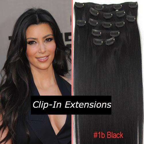 Clip In On Human Hair Extensions_7pcs Natural Black_1b_Remy Human Hair ...
