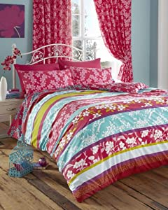 Super King Size Duvet Cover Set With Matching Curtains Pink Teal Oriental Flower
