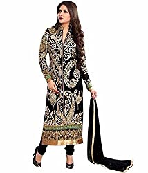 Clickedia Womens Faux Georgette Dress Material (Heavy Black Straight Cut _Black & Gold _Free Size)