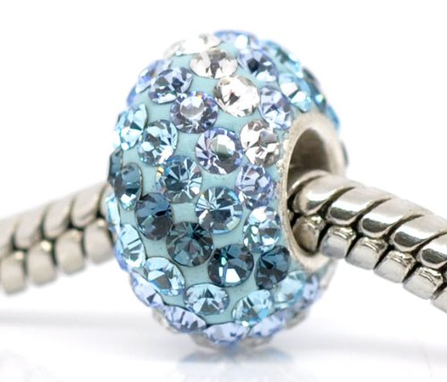 Genuine 925 Silver Blue Crystal Charm Bead & Gift Bag Will Fit Pandora Troll Chamilia Style Bracelets By Truly Charming®