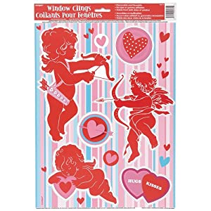 Cupid Heart Window Cling Decorations