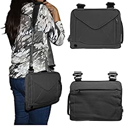 DMG Padwa Lifestyle Shockproof Soft Sleeve Pouch Carrying Envelope Bag canvas Case with Handle and Shoulder Strap for Lenovo Flex 10 10.1inch Laptop - 59430551 (Black)