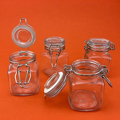 Adorox Square Glass Jars with Hinge Lid (4 Piece Set) Clear Canisters Storage