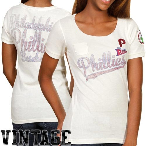 MLB Touch by Alyssa Milano Philadelphia Phillies Ladies Novelty Patch Thermal Premium T-shirt - Natural (Large) at Amazon.com