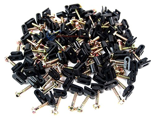 100 Pcs Ground Wire Black Flex Clips with Screw 10 12 14 Gauge GA