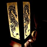 Iron Dragon Handmade Asian Oriental Wood Table Bedside Light Night Lamp Gift Bedroom Garden Shade Frame Free Adapter a Us 2 Pin Plug #396