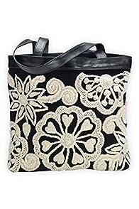 Tey-Art Anne Hand Embroidered Fair Trade Shoulder Bag (Black)