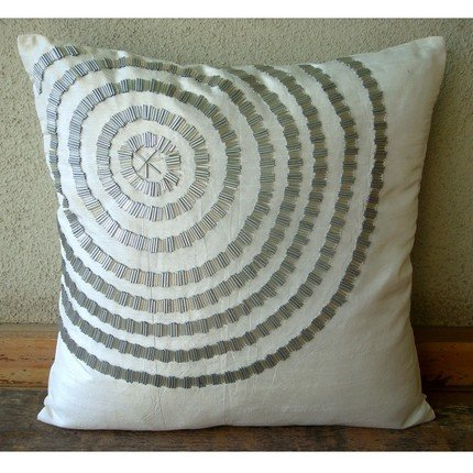 Staying Centered - 26X26 Inches Square Decorative Throw White Silk Euro Sham Covers With Silver Pipe Sequins front-677107
