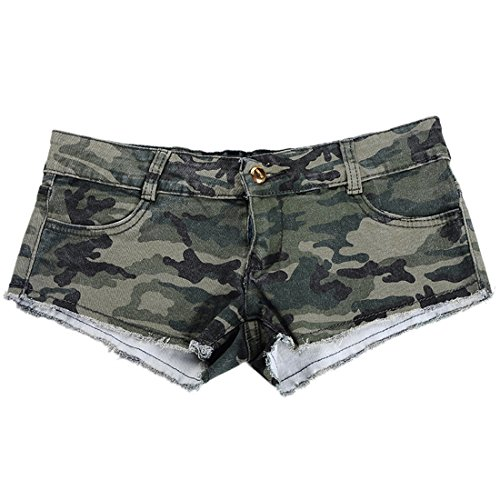 Encounter Women's Camouflage Denim Low Waist Jeans Shorts Pants Camouflage Shorts