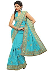 Alethia Light Blue Bhagalpuri Silk Casual Heavy Embroidery Sarees With Unstitched Blouse