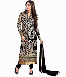 Zeel Fashion Women's Georgette Unstitched Dress Material (zf18_Black _Free Size)