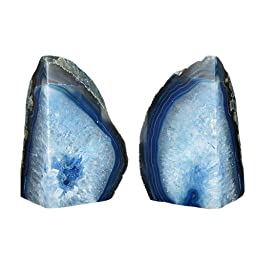 1 Pair, Rough/Polished, Blue Agate Bookend(s) by Joyoung (4-5LBS)