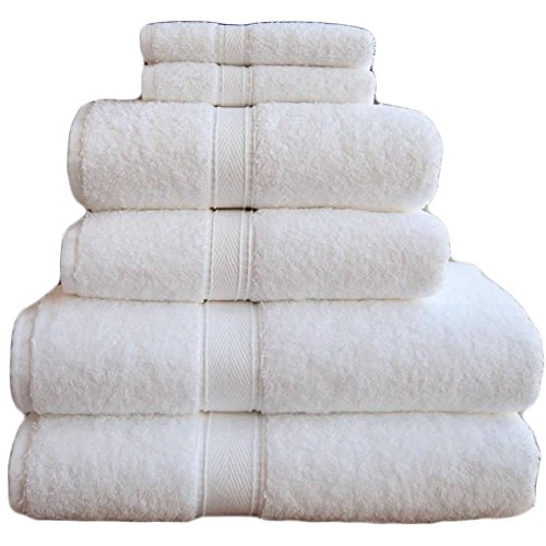 Luxury Cotton Bath And Hand Towel - White Made in the USA (6 Piece Set, White) (Towel Made In Usa compare prices)