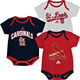 adidas St.Louis Cardinals Newborn/Infant 3 Pack Creeper Set