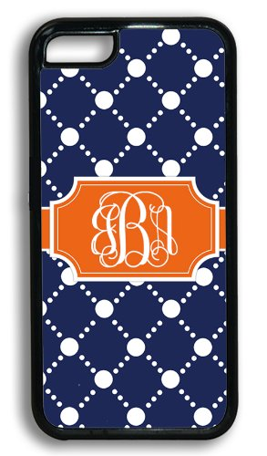 Personalized Monogram Iphone 5C Case - Navy Blue Pattern With Orange - Monogrammed Case For Iphone 5C Case Fits All Carriers front-234581