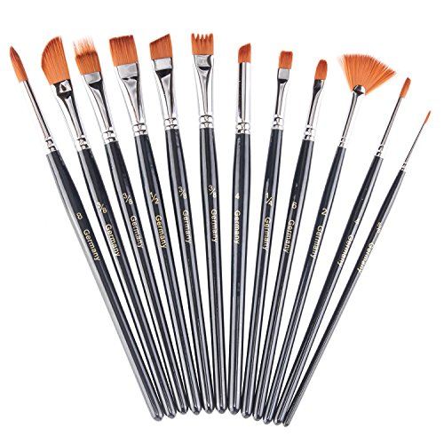 heartybay Paint Brush Set Round Pointed Tip Nylon Hair artist acrylic brush Watercolor Oil Painting (black 12pcs) (Miniature Hand Fans compare prices)