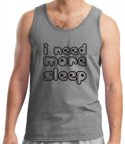 I Need More Sleep Tank Top Small Sport Grey