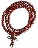 Luos 108 Red Wood Beads Tibetan Buddhist Prayer Meditation Mala