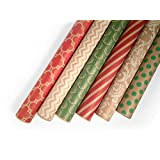 Kraft Holiday Wrapping Paper Set - 6 Rolls - Multiple Patterns - 30