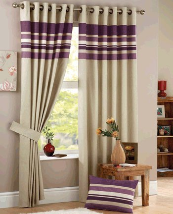 Curtina Harvard Eyelet Lined Curtain Aubergine, 90x72