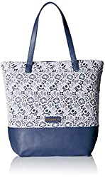 Caprese Elsa Women's Tote Bag (Off-White and Navy)