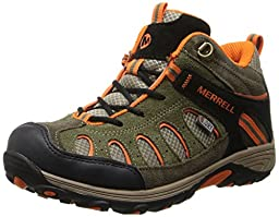 Merrell Chameleon Mid Lace WTPF Hiking Shoe (Little Kid/Little Kid/boys),Olive/Orange,2.5 W US Little Kid