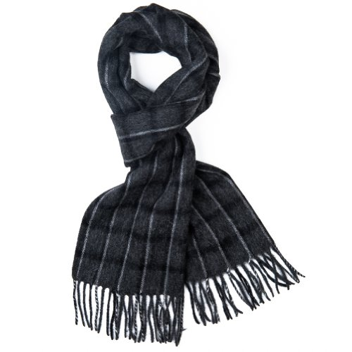 Mens-100-Lambswool-Luxury-Scarf-9-Designs-Grey-with-light-grey-and-black-plaid