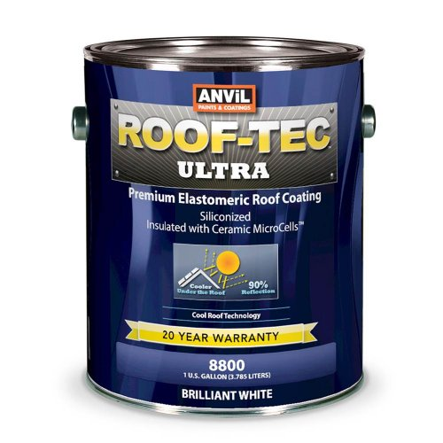 Anvil Roof-Tec Ultra Siliconized & Microcell Elastomeric White Roof Coating 1 Gallon