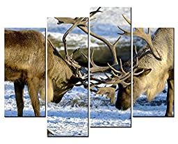 Canval prit painting 4 Panel Wall Art Elk A Couple Of Deer\'s Horns On The Snowfield Picture On Canvas Stretched By Wooden frames-For Living Room Decor Or As A Gift