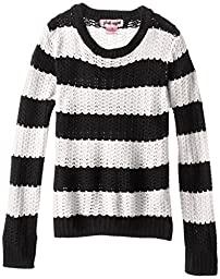 Pink Angel Big Girls\'  Striped Pullover Sweater, Black/White, X-Large