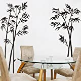 ORDERIN Wall Decal Hot Sale Ink and Wash Painting Black Bamboo Tree Birds Removable Mural Wall Stickers for Television Background Decoration Home Decor