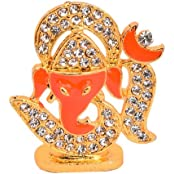 Decorative Multipurpose Lord Ganesha Orange White Metal & Diamond Small Piece By Vyomshop