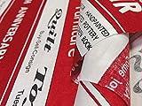 布人倶楽部 有輪商店 小関鈴子さんのシャーティング英字ストライププリント 赤 1mカットクロス