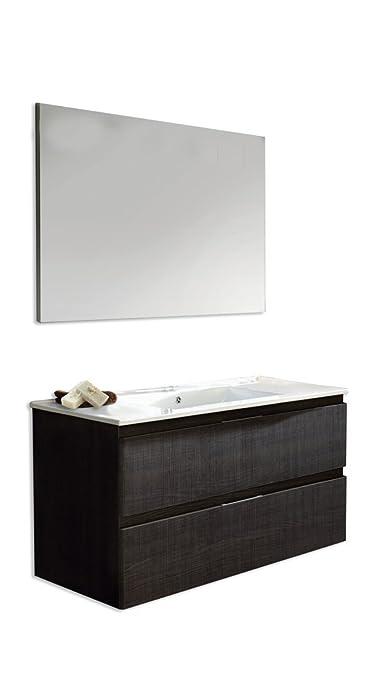 Set Naima: Mobile 100cm + Piano Ceramica + specchio liscio bianco lucido