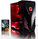 VIBOX Warrior 4 Gaming PC - 4.1GHz 6-Core, Desktop Computer with WarThunder Game Bundle, Neon Red LED Internal Lighting Kit PLUS a Lifetime Warranty Included* (3.5GHz (4.1GHz Turbo) AMD FX 6300 Six Core CPU Processor, 2GB AMD Radeon R9 270X HDMI Graphics Card, High Grade 85+ 500W PSU, 1TB Hard Drive, 8GB 1600MHz RAM, DVD-RW, Vibox Gamer Case, No Operating System)