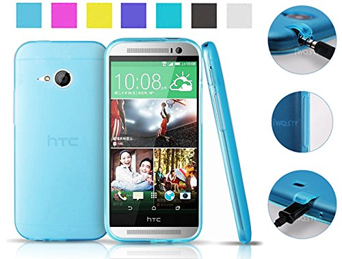 Koppu@ Htc One Mini 2 (2014) Case (Sky Blue) (Inbuilt Dust Plug For Earphone Jack And Charging Port) Slim Fit Semitransparent Tpu Frosted Soft Phone Cover Case (Sky Blue)
