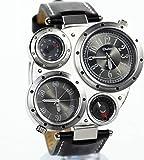 アンティーク腕時計/でかフェイス/文字盤/アナログ表示/コンパス 温度計機能 【お手入れシート付】カジュアル メンズ レディース ウォッチ スポーツ (ブラック)