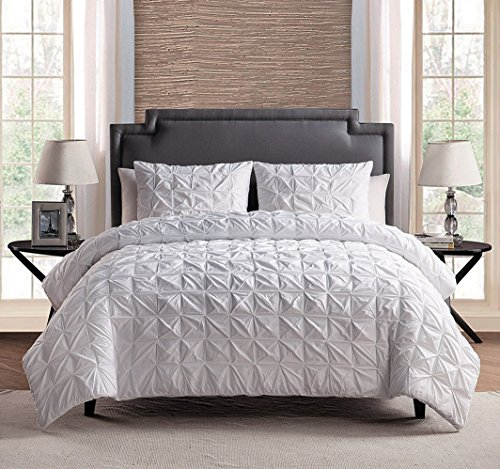100 cotton 3 piece solid white pinch pleat duvet cover set full queen size bedding home. Black Bedroom Furniture Sets. Home Design Ideas