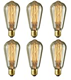 Pack of 6 - Rolay® 60 Watt Edison Style Vintage Filament Decrative Incandescent Light Bulbs - 1 Year 100% Satisfaction Guarantee cover image