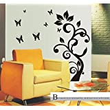 Oren Empower Black Butterfly Fly Around Tree Wall Sticker (Finished Size On Wall - 92(w) X 175(h) Cm)