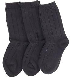 TRIMFIT Boys Rib Comfortoe Dress Socks - 10770 - 3 Pack - Black, 8-9.5