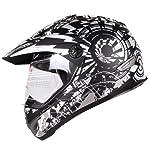 Black Silver Dual Sport Atv Utv Motocross Street Bike Hybrid Helmet DOT (L)