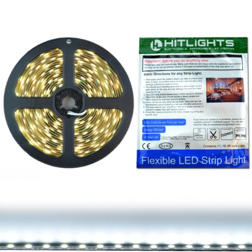 Hitlights Cool White Smd5050 High Density Led Light Strip - 300 Leds, 16.4 Ft Roll, Cut To Length -5000K, 314 Lumens Per Foot, Requires 12V Dc