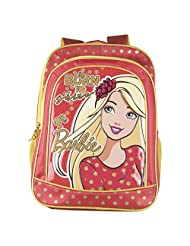 Barbie Polyester 16 Inch Red And Yellow Children's Backpack (MBE - MAT072)