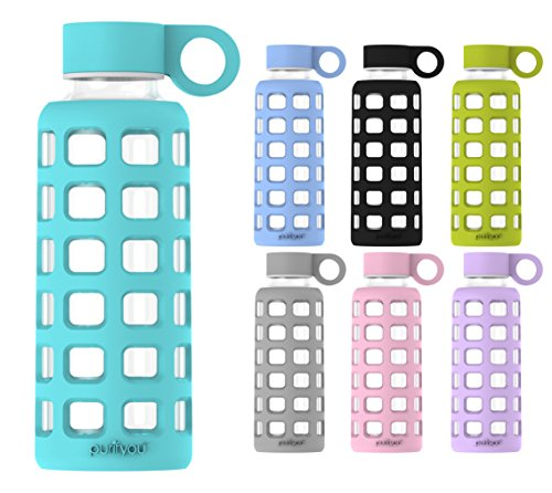 purifyou Premium Glass Water Bottle with Silicone Sleeve & Stainless Steel Lid Insert, 12 / 22 / 32 oz (Aqua Blue, 12 oz) (Glass Drinking Water Bottles compare prices)