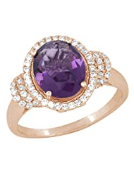 Pink Gold Plated Pure 925 Sterling Silver Simulated Diamonds And Amethyst Colour Halo Ring