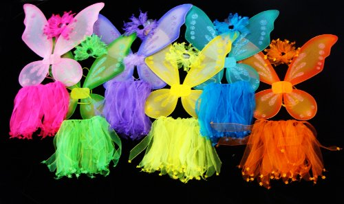 6 Costumes (3 Piece Costume) Girls Pixie Fairy Costume Wing, Tutu, Hair-tie (Pony-o). Select Colors: Assorted