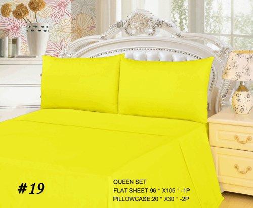 Tache 3 Piece 100% Cotton Bed Sheet Set Yellow Flat Sheet- Queen front-300827