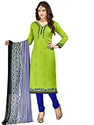 Kanchnar Women's Green and Blue Mix Cotton Printed Casual Wear Dress Material,Diwali Great Indian Festival sale Traditional Clothing for Girls,Navratri Special Collection,Gift to Wife,Mom