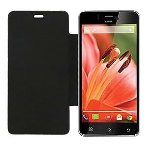 Acm Leather Diary Folio Flip Flap Case For Lava Iris Pro 30 Mobile Front & Back Cover Black